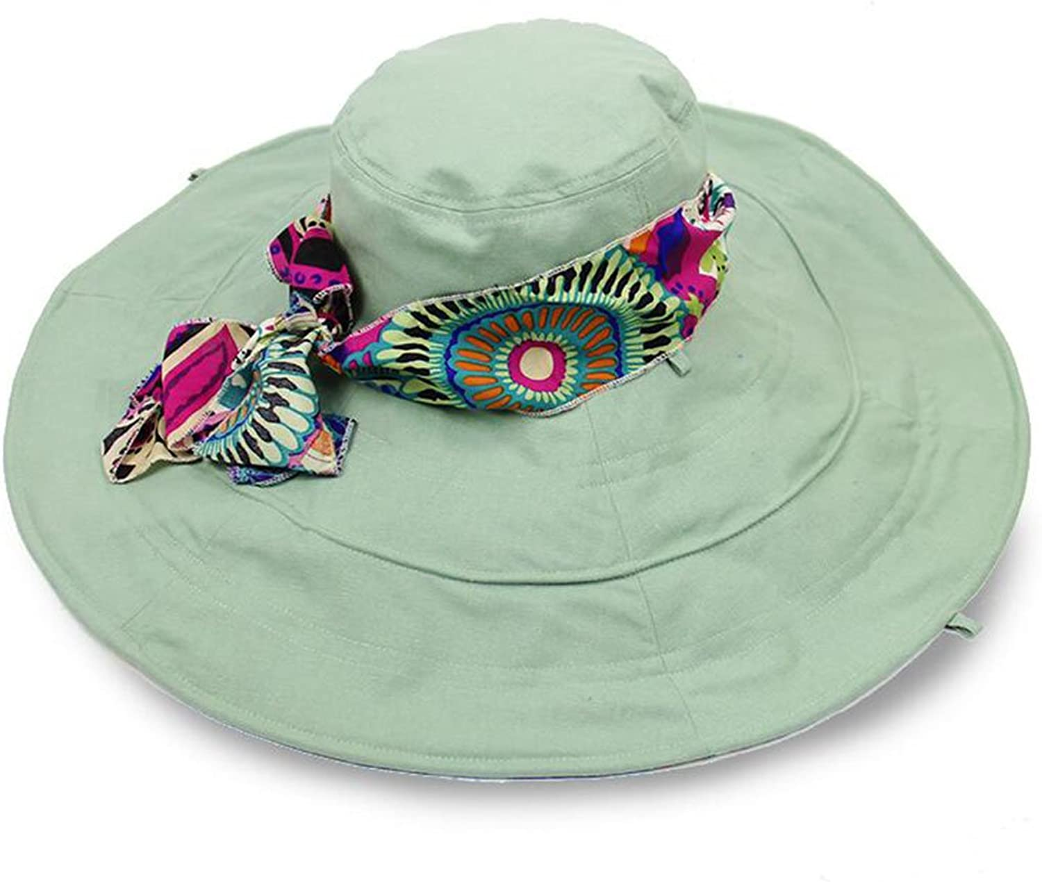 QZ Home Visor Big Hat Sunhat Hat Ms Outdoor Travel Collapsible Summer Beach Hat (color   Pink Green)
