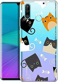 OOH!COLOR Carcasa para Móvil Compatible con Funda Huawei P30 Lite Silicona Animales Transparente Suave Bumper Teléfono Caso con Dibujo Cats