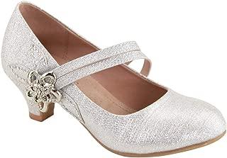 MVE Shoes Girl Dress Cute Low Heel Sparkle Shoes - Ankle Strap Classy Shoes