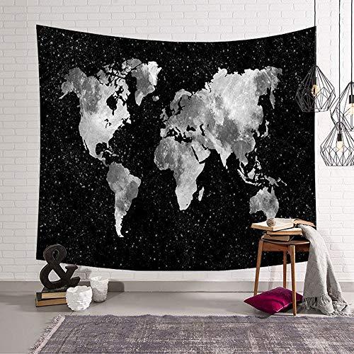 Morbuy Kreativ Tapisserie, Weltkarte Tapestry 150 x 200cm Dekor Wandteppich Motiv Wandbehang aus Polyster Wandtuch Tischdecke Meditation Strandtuch Yogamatte (Groß (150 x 200cm), Schwarzer Ozean)