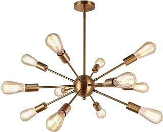 ENCOFT Sputnik 12 Luz Lámpara Colgante en Metal Base E27 Moderno Iluminación Colgante Lámparas de Araña para Sala de Estar Dormitorio Cocina, Latón Sin Bombilla