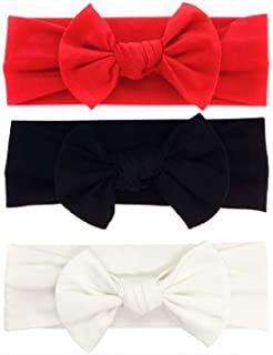 BABYGIZ Baby Girl Headbands-Infant,Toddler Cotton Handmade Hairbands with Bows Child Hair Accessories (Black, White, Red, 3)