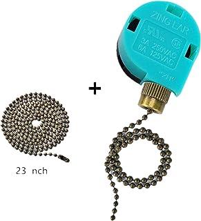 Ceiling Fan Switch Zing Ear Pull Chain Switch ZE-268S6 3 Speed 4 Wire Pull Chain Switch Control Ceiling Fan Replacement Speed Control Switch (Bronze)