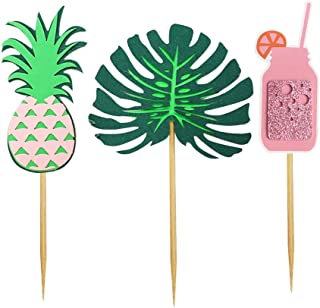 Amosfun 12pcs Hawaiian Party Cake Cupcake Toppers Pineapple Cupcake Picks Ice Cream Fruit Dessert Decorations Supplies for Carnival Gathering Birthday Party