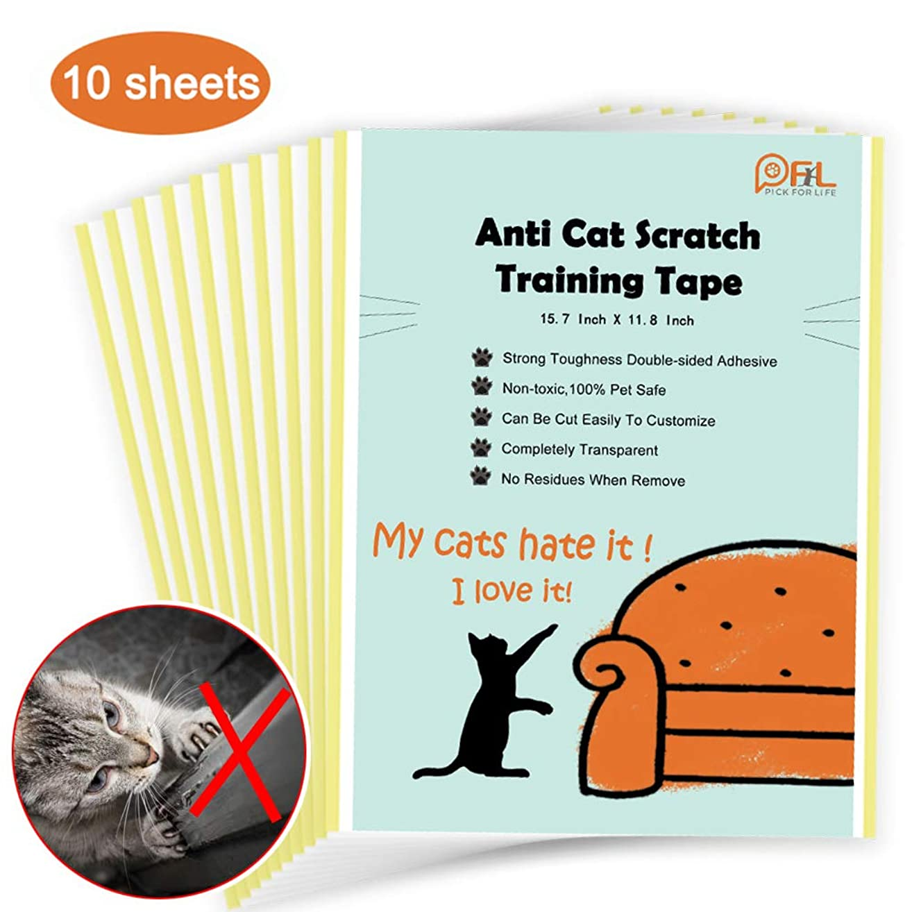 Cat Scratching Deterrent Tape, No Residue Anti Scratch Cat Training Tape for Couch, Removable Double Sided Sticky Adhesive Furniture Protector (Large Size 15.7in X 11.8in,10 Sheets)