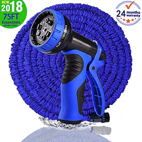 Best Buy! Garden Hose, Newest 75 FT Expandable Heavy Double Latex Flexible Hose - 9-Pattern High Pre...