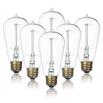 6-Pack Edison Light Bulb, Clear Glass Warm White Old Fashioned Incandescent Light, Jslinter 60 Watt Dimmable ST58 Antique Vintage Style Light, e26 Base(60w/110v)