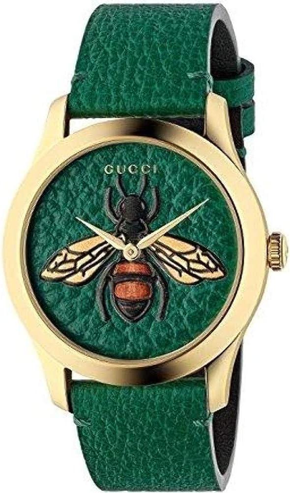 Gucci orologio uomo in acciaio inossidabile vetro zaffiro con cinturino in pelle YA1264065