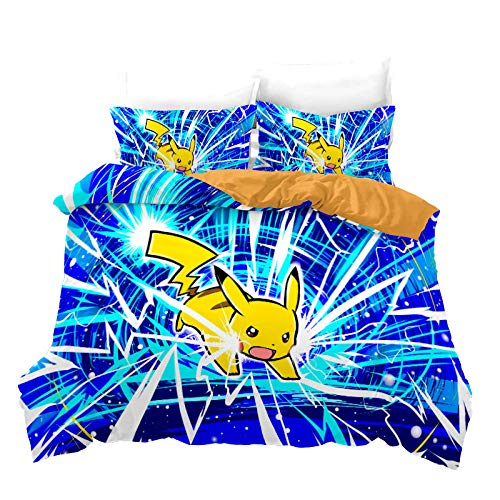 BTBDWOSW King Duvet Cover With 2 Pillowcase 3D Cartoon Anime Elf Bedding Set Soft Easy Care Microfiber Quilt Cover With Zipper Closure, For Adults And Teens + 2 Pillow Cases 220X230 Cm