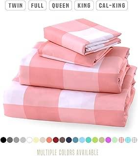 Luxe Bedding Sets - Microfiber King Size Sheets Set 4 Piece, Pillow Cases, Deep Pocket Fitted Sheet, Flat Sheet Set King - Gingham Pink