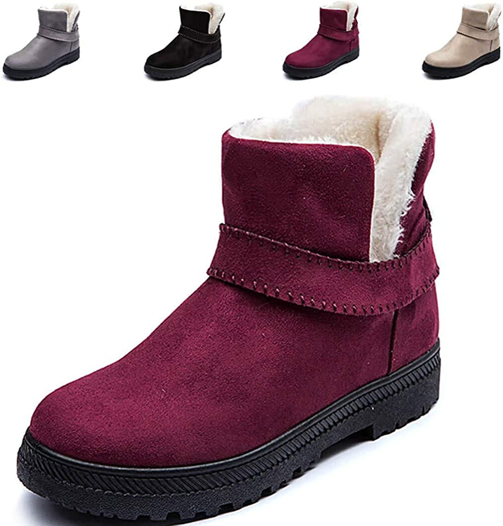 SO SIMPOK Women's Winter Fur Lined Snow Boots Outdoor Boots Ladies Flat Platform Slip-on Ankle Boots