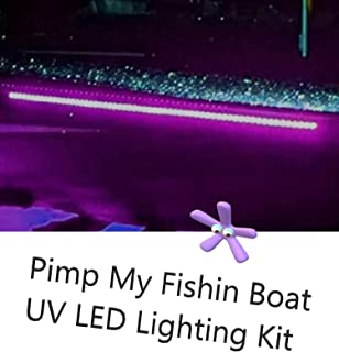 Green Blob Outdoors Pimp My Fishin Boat UV Boat Light kit Ultra Violet Black Light Strips Waterproof for Bass Boat Rub Rails,Pontoon, Night Fishing with Bonus Red & Green LED Navigation Light Strips
