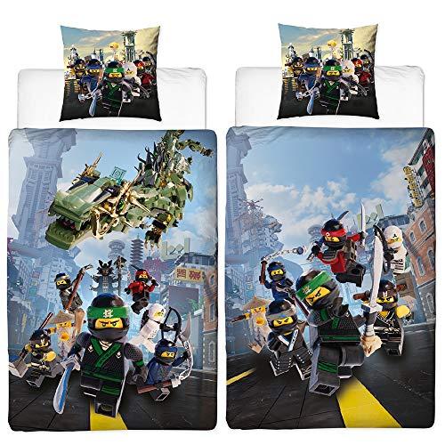 Biber Kinder-Wende-Bettwäsche Lego Ninjago Street blue 135x200cm + 80x80cm 100% Baumwolle Flanell-Qualität Cole Jay Kai Lloyd Zane Nya Misako Sensei Wu Zwei Vollmotive / deutsche Größe Reißverschluss