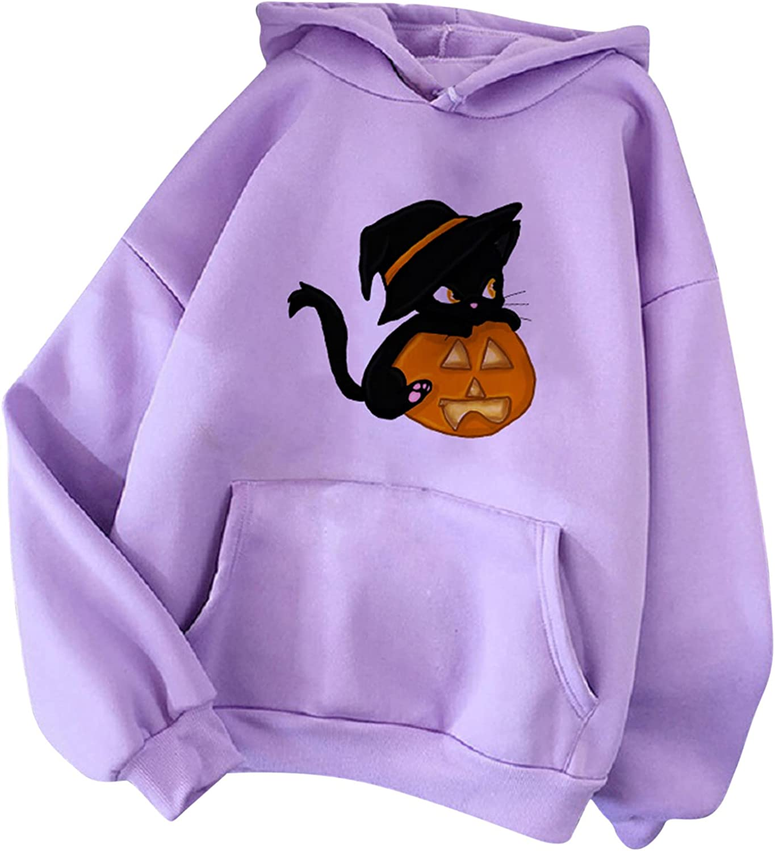 Afelkas Kawaii Clothes Halloween Super Cute Animal Print Hoodie Fashion Long Sleeve Sweatshirt Stitching Pocket Pullover