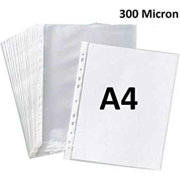 True-Ally Heavy Duty 25 Pcs 300 Micron Transparent Document Sleeves, Leaf Sheet Clear Certificates/Waterproof Sheet Protectors 11 Holes Punched Ring Files Folder (A4 Size) (25 Sheets - 300 Micron)