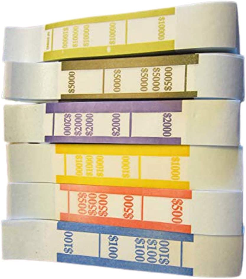 Self Sealing Currency Straps Money Bill Max 77% OFF Regular discount 600 6 Pieces Colors
