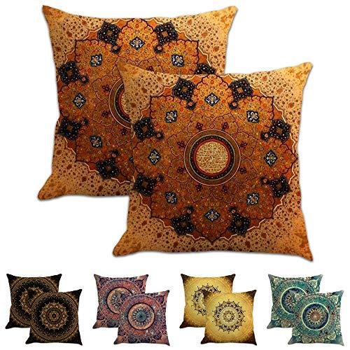 Funda cojín 45*45 cm juego de 2, fundas de cojines de lino para cojines sofa, cojines decorativos para sofa, funda cojin estampado con cuadros de mandalas y estilo étnico (Vintage Mandala4, 45