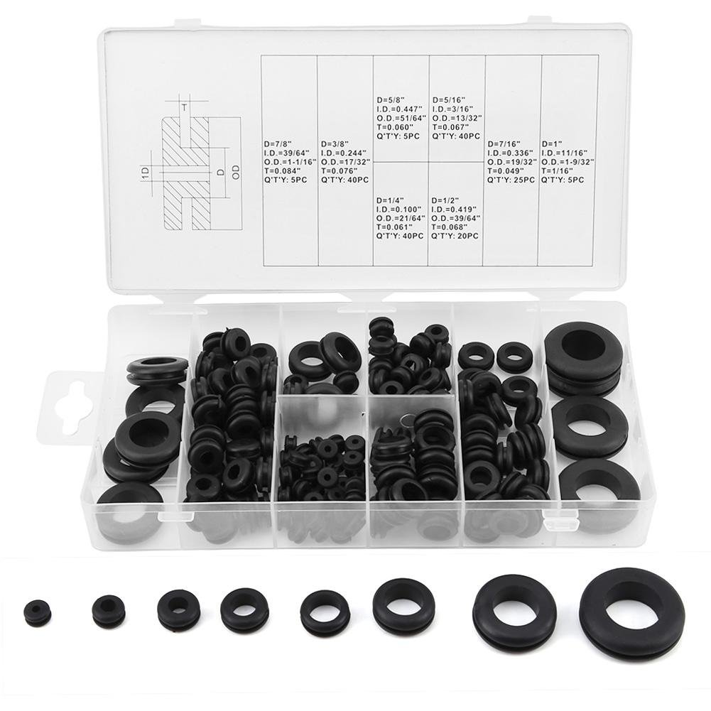 Akozon Nippon regular agency 180Pcs Rubber Grommet Wire Washer Max 43% OFF Gasket Electrical Ring