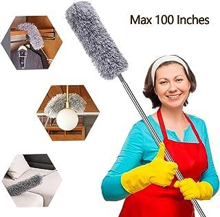 ASANMU Plumero Atrapapolvo Lavable, Plumero de Limpieza Extensible Plumero de Microfibra con Poste Telescópico Largo de 100 Pulgadas, para Limpiar Telarañas de Polvo en Ventiladores/Luces/Muebles