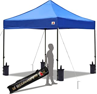 ABCCANOPY Pop up Canopy Tent Commercial Instant Shelter with Wheeled Carry Bag, Bonus 4 Canopy Sand Bags, 10x10 FT (New Blue)