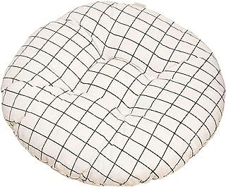 Nowbetter - Cojín Redondo para Silla de Oficina, Comedor, Muebles de jardín, 40 x 8 cm, diseño de cuadrícula, Color Blanco