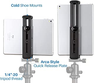 Ulanzi iPad Tripod Mount Adapter - Aluminum Metal Tablet Tripod Mount Holder with Cold Shoe, Quick Release Plate Interface and 1/4'' Screw Mount for iPad Mini iPad 4 3 2 iPad Pro Surface Pro etc.