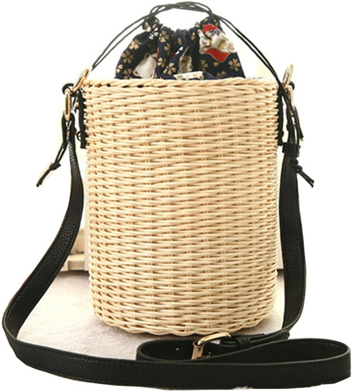 YTAIK 2018 New Rattan Bucket Handbag Lady Beach Shoulder Tote Travel Clutch Bohemian Straw Bags Women Summer Wicker Basket Bag
