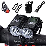 Nestling 5000Lm 2 XML U2 LED Bike Bicycle Cycling Light Headlamp Headlight Front Head Torch 4x18650 Battery Pack Rechargeable USB Charger + Rear Tail Safty Flashing Light