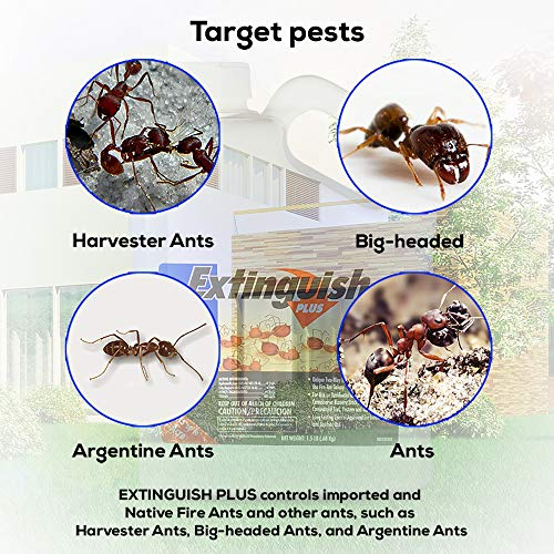 Centaurus AZ Extinguish Plus Fire Ant Bait Fast Acting and Long Lasting Prevention Eliminates Colonies Kills The Queen and Workers Ants Quick Knockdown Plus Chemical Resistant Gloves, 1.5 LB