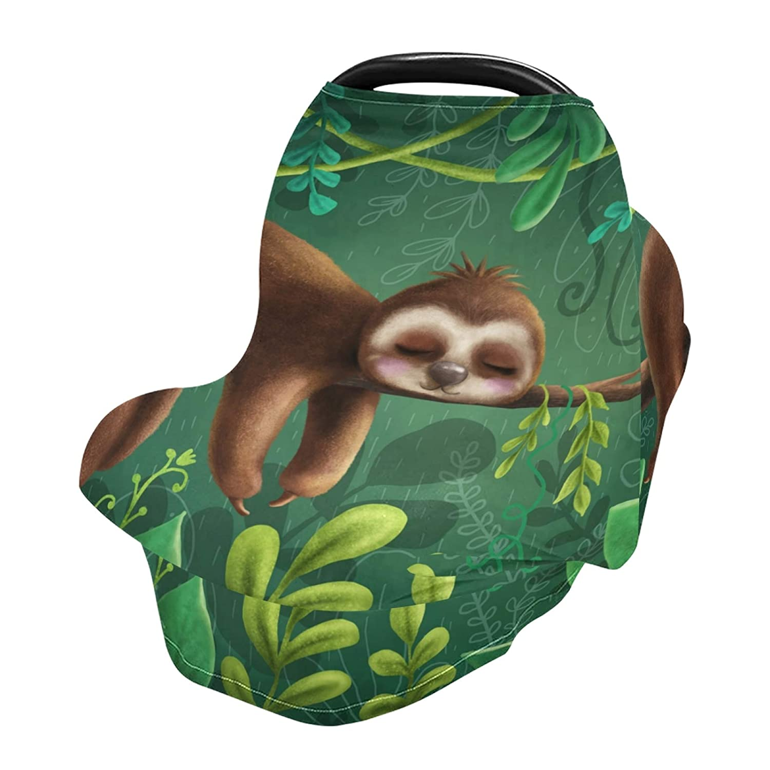Baby Car Seat Covers Canopies for Boys Girls Cute Sloth Infant Stroller Cover Nursing Cover Breastfeeding Scarf Warm Windproof