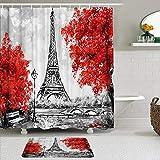 Juego de Cortinas y tapetes de Ducha de Tela,Torre Eiffel con Flor Roja Árboles Blanco Negro París Francia,Cortinas de baño repelentes al Agua con 12 Ganchos, alfombras Antideslizantes