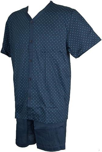 RAGNO Pyjama Homme Coton Jersey Manches Courtes Ouvert avec Boutons Article N24285