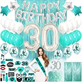 30th Birthday Decorations with Photo Props 30 Birthday Party Supplies | 30 Cake Topper Teal Green| Banner Turquoise Confetti Balloons for her | Dirty Thirty 30th Bday Backdrop Props Thirty Birthday