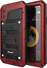 Beasyjoy Metal Case for iPhone X,Heavy Duty Hard Strong Aluminum Cover Waterproof with Screen Full Body Protector, Drop Proof Shockproof Tough Rugged Durable Military Grade for Sports,Red