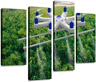 IGOONE 4 Panels Canvas Paintings - Drone Spraying a Field futuristics and Pictures - Wall Art Modern Posters Framed Ready to Hang for Home Wall Decor