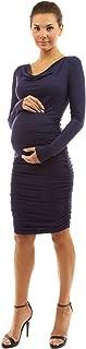 PattyBoutik Mama Cowl Neck Ruched Stretch Maternity Dress