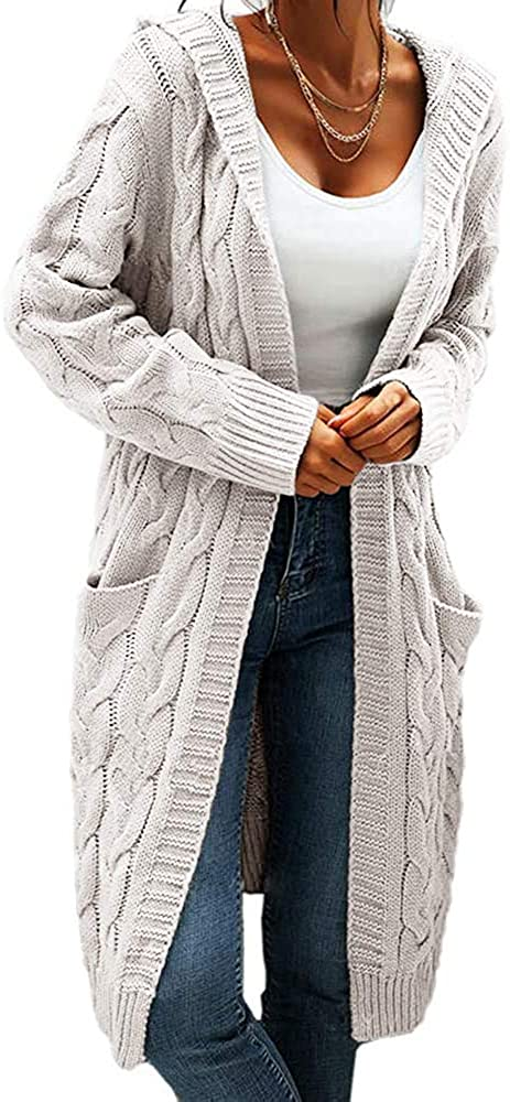 Challenge the Special Campaign lowest price of Japan Women's Cable Knit Long Sleeve Open Cardigan Front Sweater