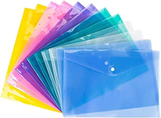 Bekith Clear Document Folder with snap Button,Premium Quality Poly Envelope, US Letter / A4 Size, Set of 24 in 6 Assorted ...