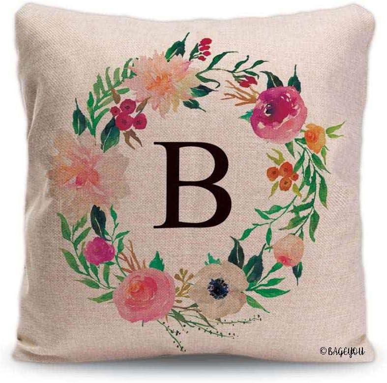 BAGEYOU Watercolor Floral Wreath Throw Pillow Cover Monogram B Spring Summer Decor Home Cotton Linen Pillowcase 18x18 Inch