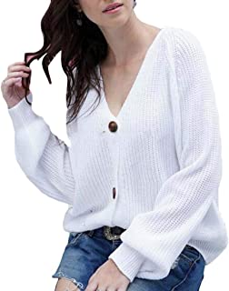 Womens Simple V Neck Button Down Sweaters Knit Cardigans Coats