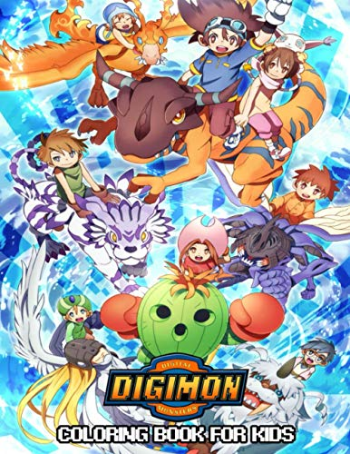 Digimon Coloring Book For Kids: Beatiful Anime Illustrations To Color For Kids