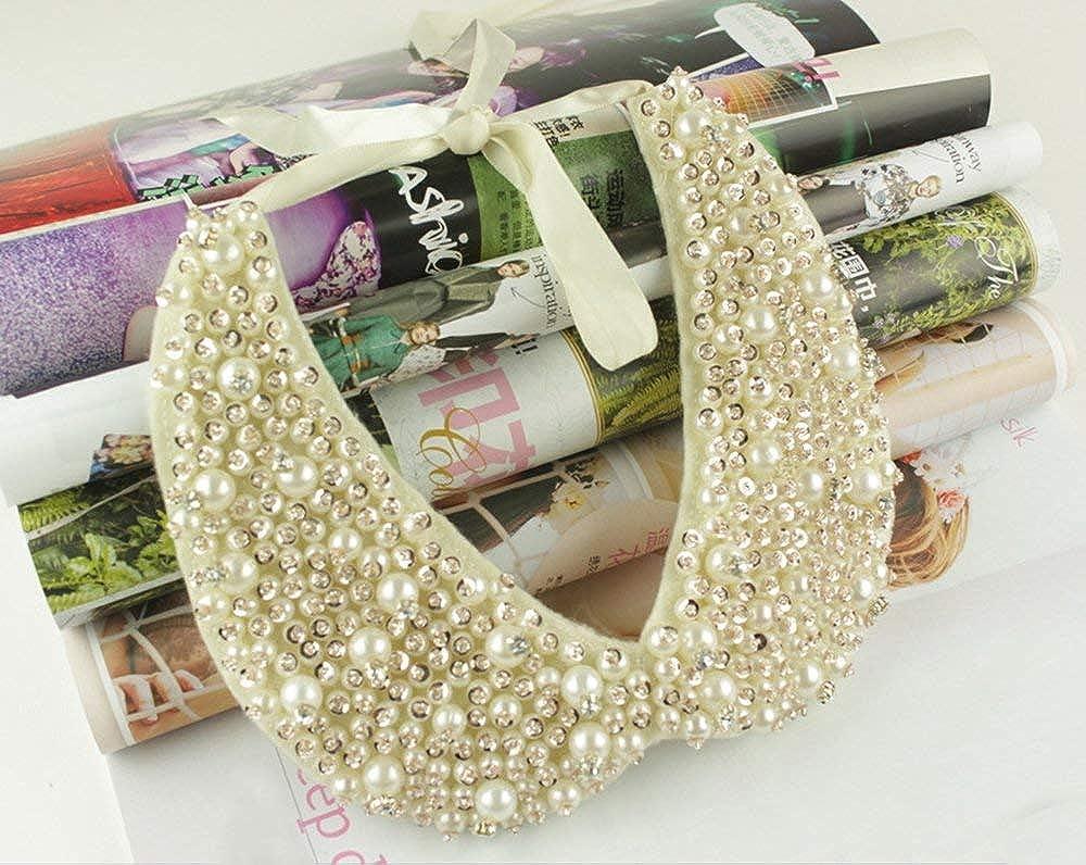 Mural Art Detachable Faux Pearls Sequins Clear Rhinestones False Collar Necklace White, Large