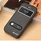 iPhone SE ケース iphone5s ケース 窓付き/ iphone5 ケース レザー手帳型ケース ウォレット アイフォンSE/5s/5 対応 iphone SE/5s/5カバー iphone5S カバー スタンド機能付き RC0298-303 (ブラック) [並行輸入品]