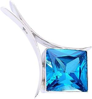Ravishing Impressions Jewellery Colgante de plata de ley 925 con piedra de cuarzo azul FSJ-5340