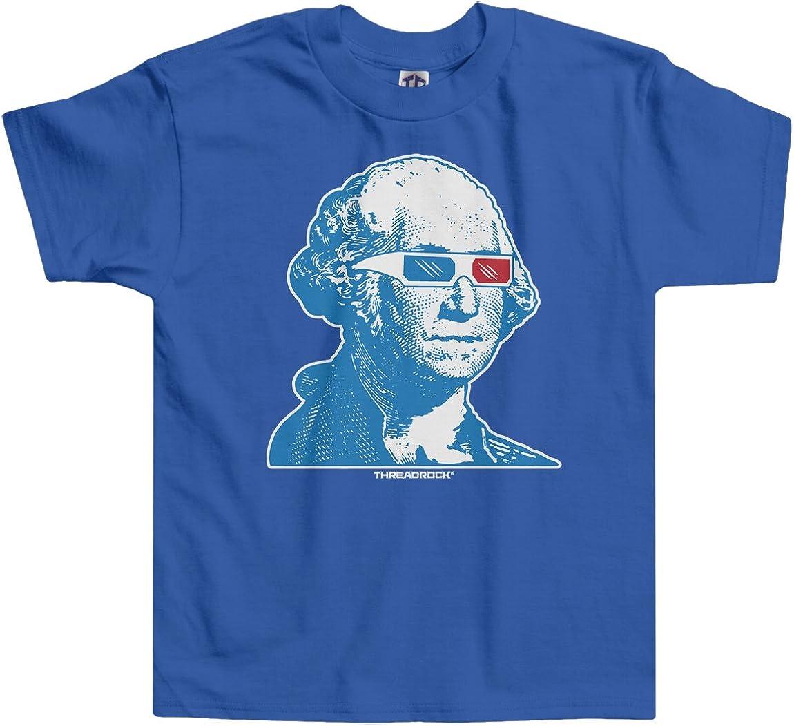 Threadrock Little Boys' George Washington 3D Glasses Toddler T-Shirt