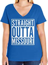 Tenacitee Women's Straight Outta Missouri Plus Size V Neck T-Shirt, Size 1, Royal Blue