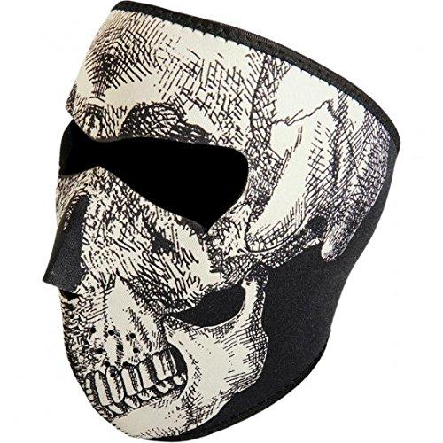 Glow-in-the-dark Skull fronte Full Face Mask...–Zan Headgear 25030068(WNFM002G)