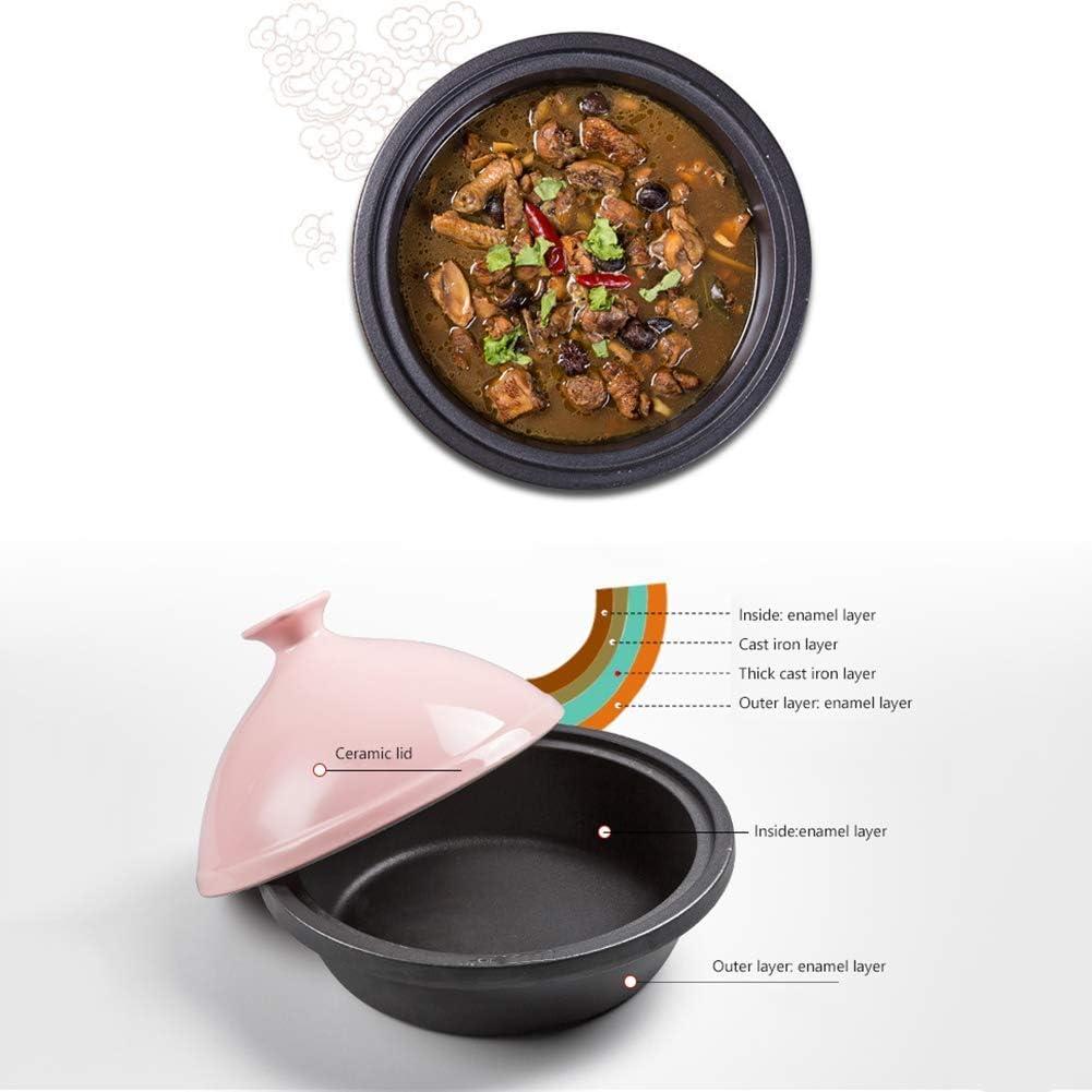 YZ-YUAN Accueil Marmite à Tajine 30Cm, Marmite à Tajine en Fonte pour la Cuisson et Cocotte à Ragoût Mijoteuse pour Cuisine à la Maison - Compatible avec Tous Les Poêles, Rose Pink