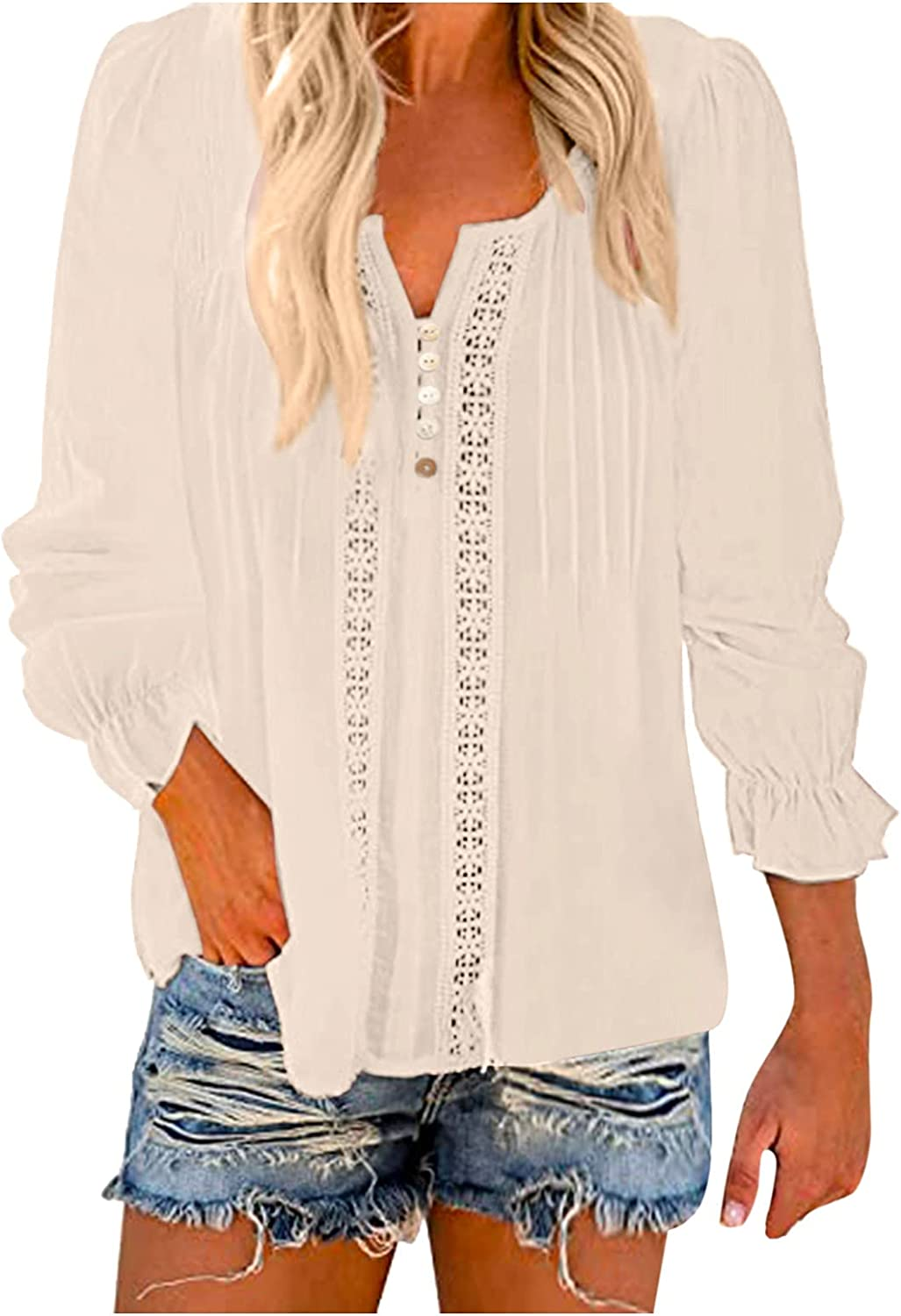 Womens Tops and blouses丨Casual Solid Button Long Sleeve V-Neck Fashion All-Match Top丨women Blouses and Tops Fashion