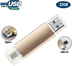 32GB USB Flash Drive for Type-C Android Phone, OTG USB3.0 Dual Flash Drive JBOS Memory Stick Thumb Drives Pen Drive for Computer & Type-C (Samsung S8, Huawei, LG G5/ G6, Nokia 8, etc) Gold